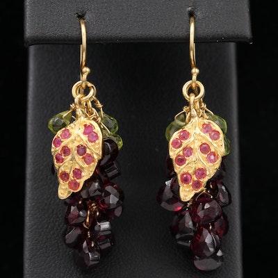 Sterling Silver Rhodolite Garnet, Peridot and Ruby Dangle Earrings