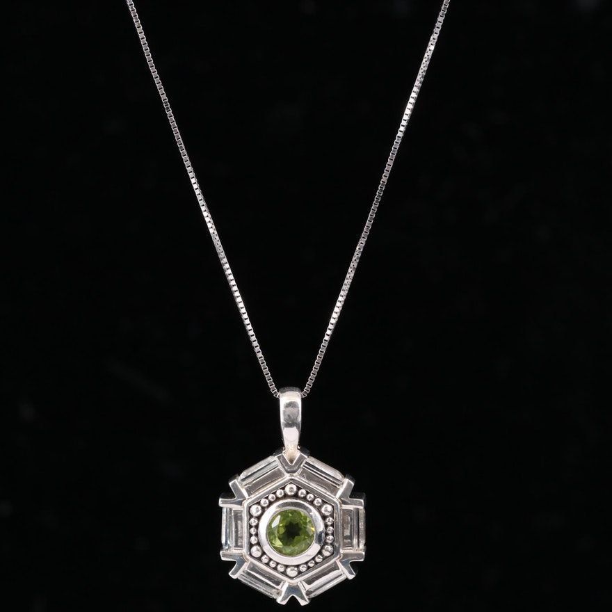 Sterling Silver Peridot and White Topaz Pendant Necklace