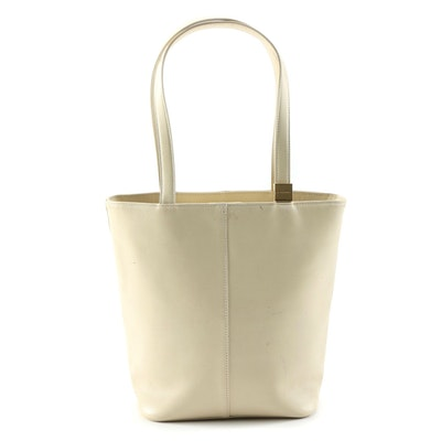 """Burberry North South Tote in Bone Leather with """"Nova Check"""" Lining"""