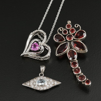 Sterling Pendants and Brooch Featuring Heart Motif with Gemstones