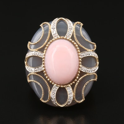 Carved Agate Ring with Pink Opal, Diamond and 14K Yellow Gold Accents