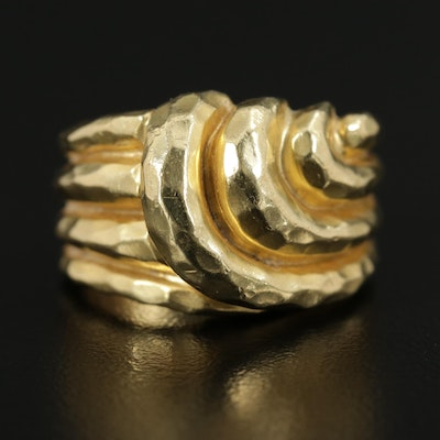 Henry Dunay 18K Yellow Gold Hammered Ring