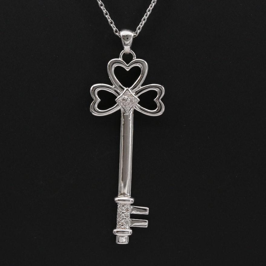 Sterling Silver Diamond Key Necklace
