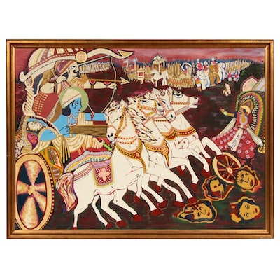 S. Weiss Chariot Battle Scene Oil Painting, 1987