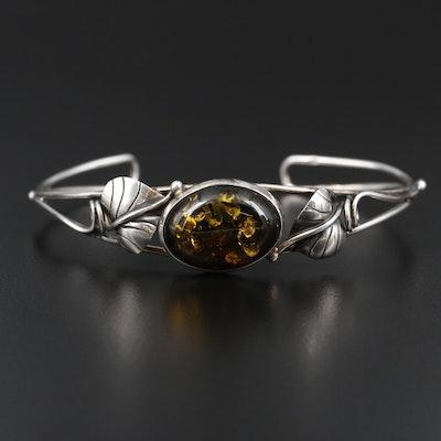 Vintage Sterling Silver Amber Bracelet