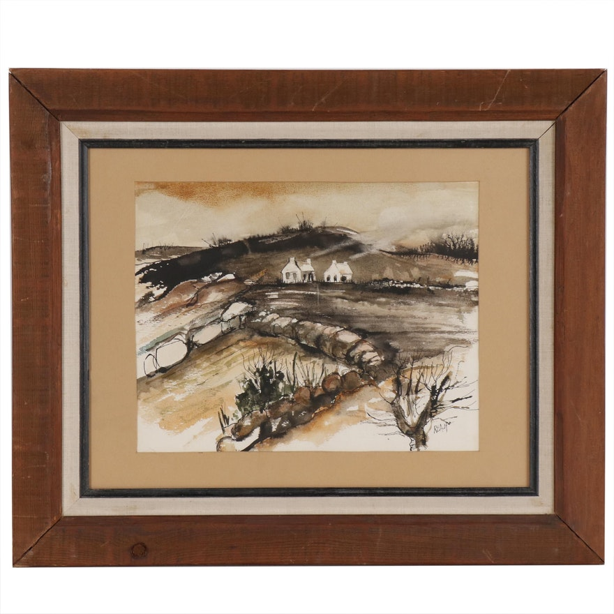 """Robert E. Ault Ink and Watercolor Painting """"Country Scene"""""""