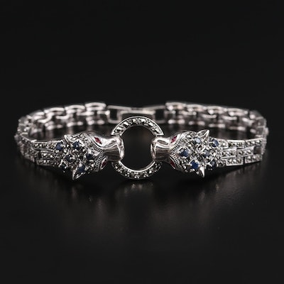 Sterling Silver Ruby, Sapphire and Marcasite Double Panther Head Bracelet