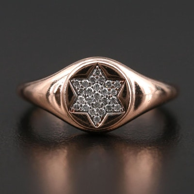 14K Rose Gold Pavé Diamond Star of David Ring