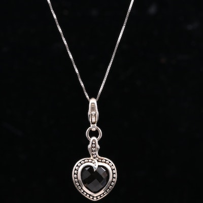 Sterling Silver Smoky Quartz Heart Pendant With Box Chain