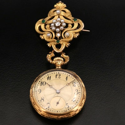 Antique Longines 18K Gold Diamond and Cultured Pearl Watch Brooch