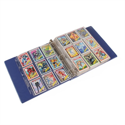 Marvel Comics Super Heroes and Villains Trading Cards in Binder