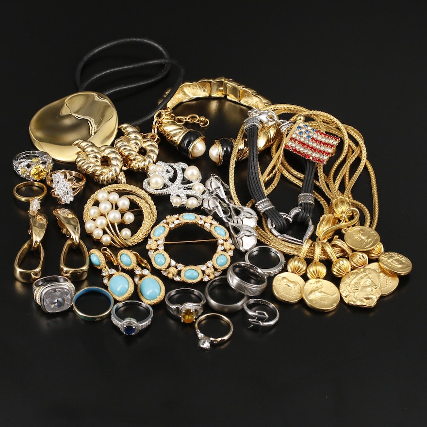 Assorted Rhinestone Jewelry Featuring Givenchy, Crown Trifari and Brighton