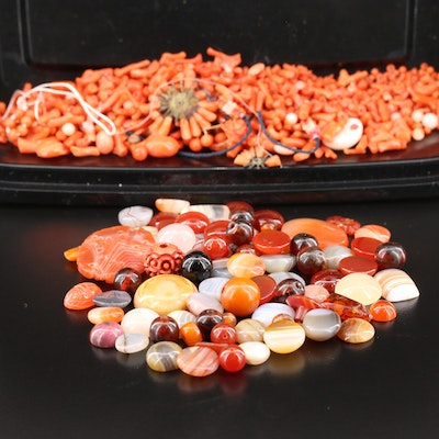 Loose 112.40 CTW Blue Lace Agate, Rhodonite and Coral Gemstones