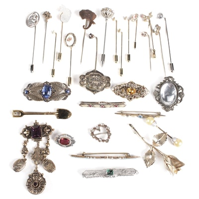 Costume Brooches Including Sterling Silver
