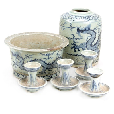 Chinese Blue and White Vase, Planter, and Candle Holders