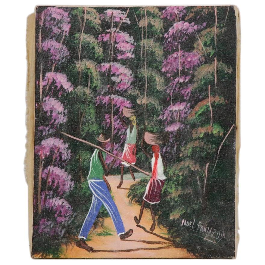 Noel Franzoa Haitian Folk Art Painting, Mid to Late 20th Century