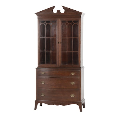 Federal Style Mahogany Stepback China Cabinet, First Half 20th Century