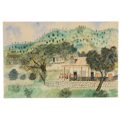 Watercolor and Ink Painting of Village Schoolhouse Scene, 20th Century