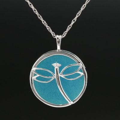 Sterling Silver Quartzite and Diamond Dragonfly Pendant Necklace