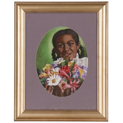 Felix Cole Gouache Painting of Girl with Flowers