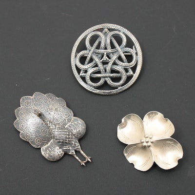 Sterling Silver Brooches Including Stuart Nye