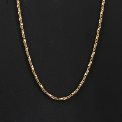 14K Yellow Gold Twisted Box Chain Necklace