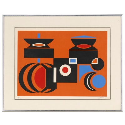 Abstract Geometric Serigraph, Mid 20th Century