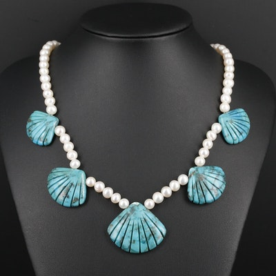 Sterling Silver Turquoise and Cultured Pearl Adjustable Necklace