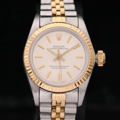Rolex Oyster Perpetual 18K Gold and Stainless Steel Wristwatch, 1984