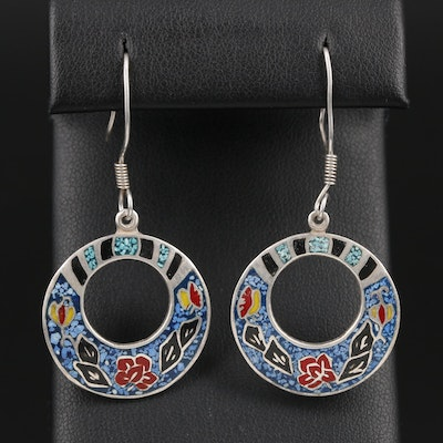 Mexican Sterling Silver Resin Earrings
