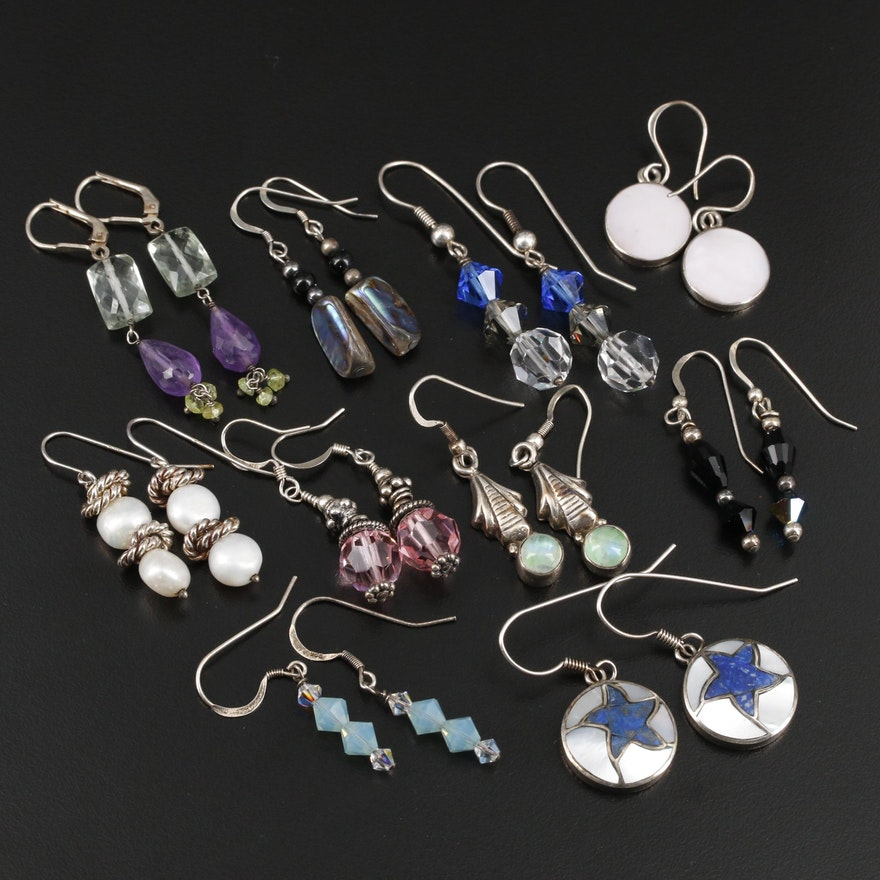 Sterling Cultured Pearl, Mother of Pearl, Lapis Lazuli and Abalone Earrings