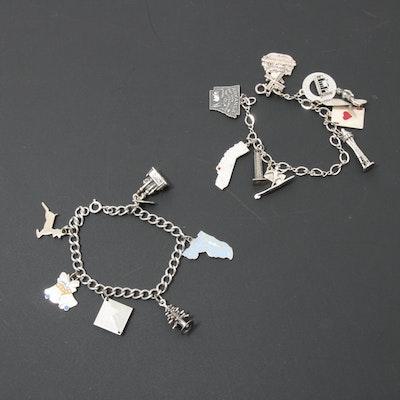 Two Vintage Sterling Silver Charm Bracelets