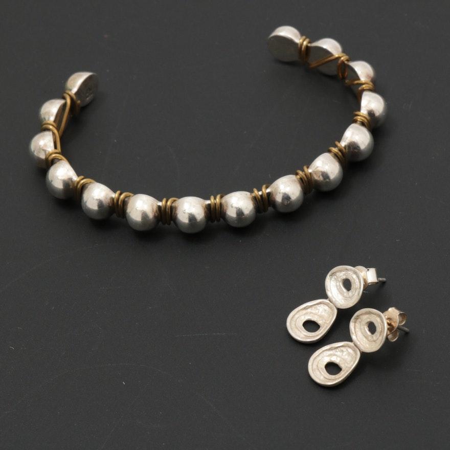Silpada Sterling Silver Cuff Bracelet and Drop Earrings