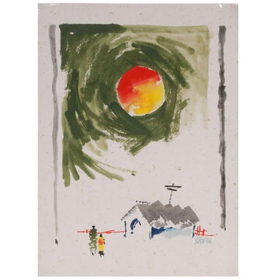 Rao Village Scene Acrylic and Watercolor Painting, 1994
