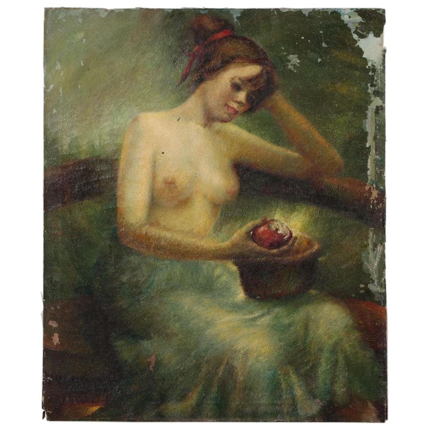 Anna E. Meltzer Oil Portrait of Female Nude, 1949