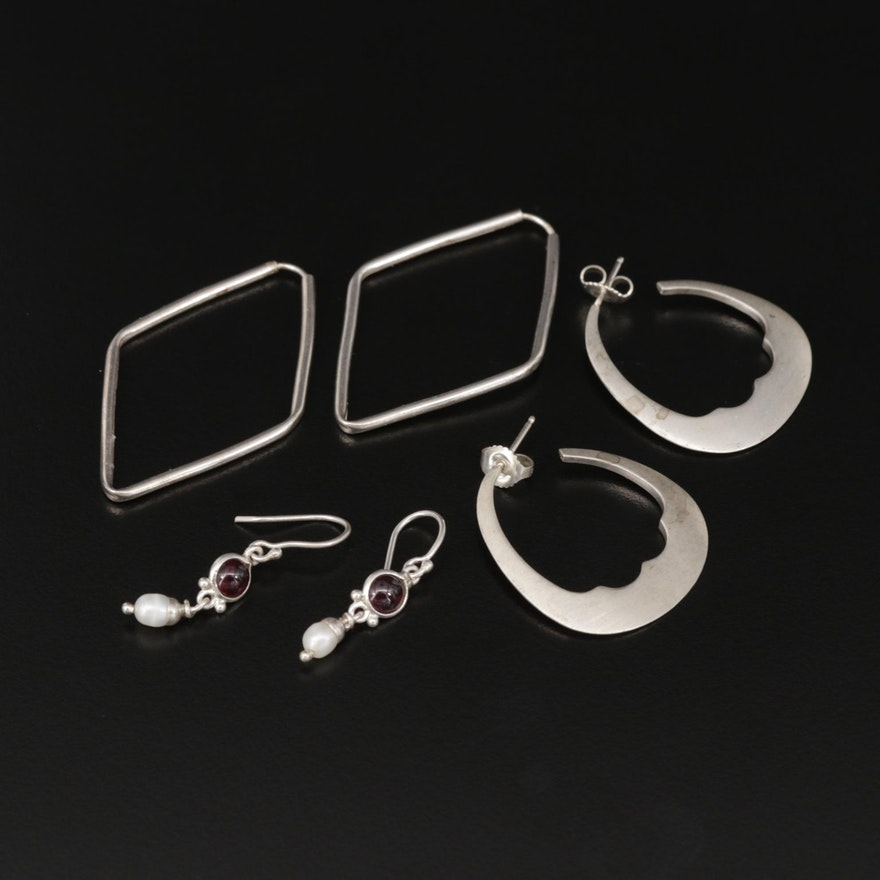 Sterling Silver Earrings Selection Featuring Me & Ro With Pearl and Onyx Accents