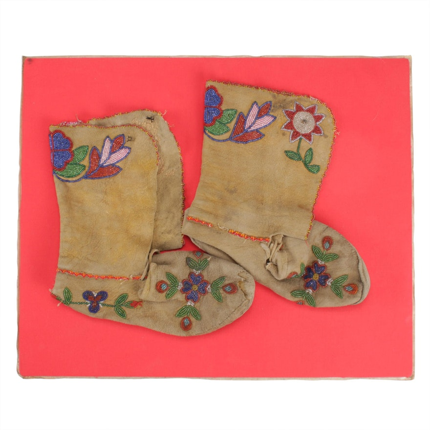 Great Plains Style Beaded Leather Moccasins