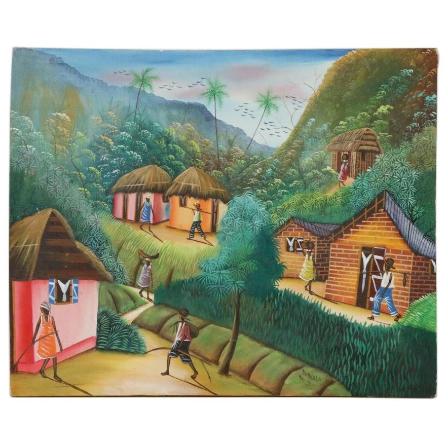 Haitian Folk Art Painting of Village Landscape, Mid to Late 20th Century