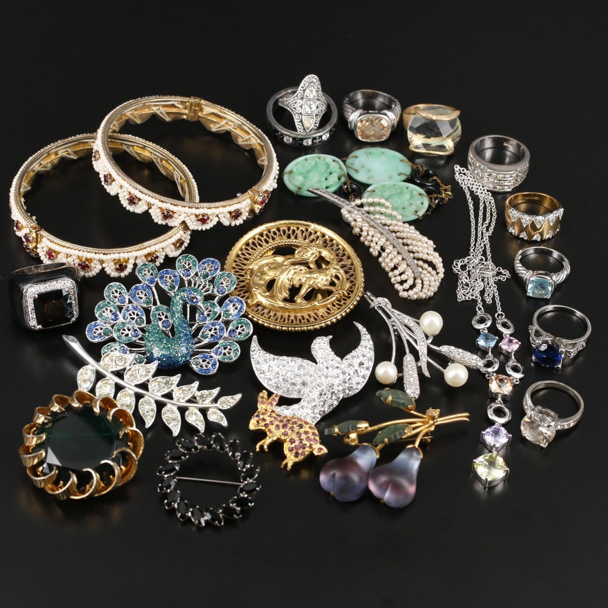 Assorted Jewelry Featuring Rhinestones, Pearls, Foil-backs and Glass