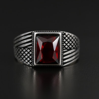Sterling Silver Glass Ring