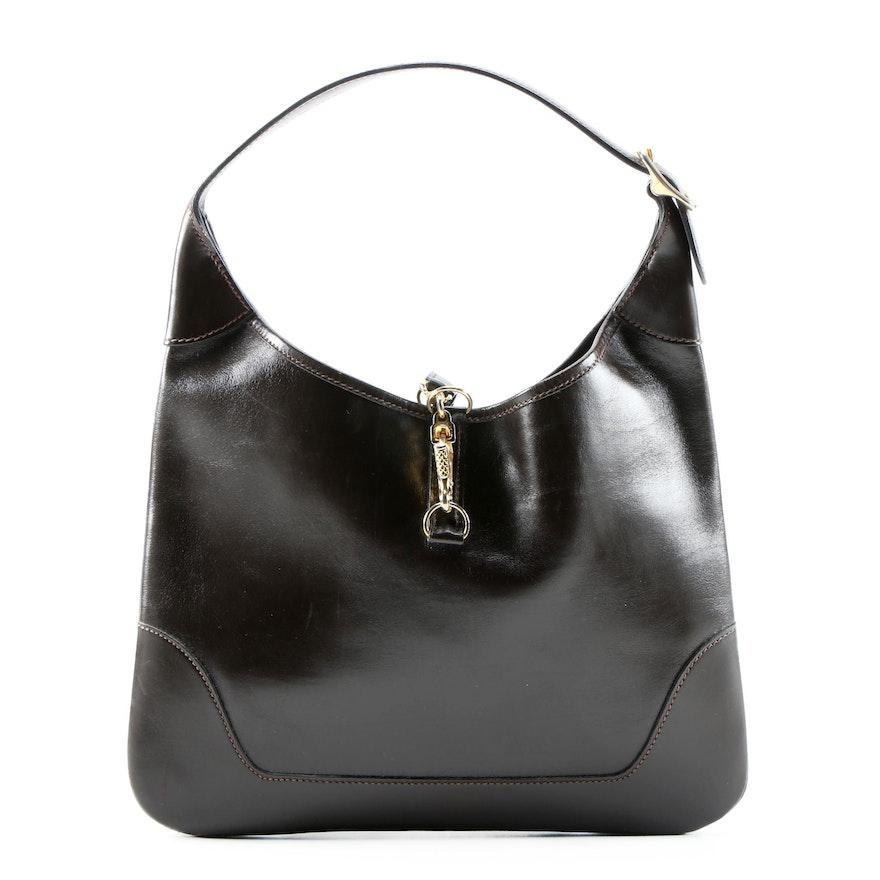 Hermès Paris Trim Bag in Box Calf Brown Leather, 1975 Vintage
