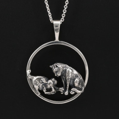 Sterling Dog and Cat Pendant Necklace by Kabana