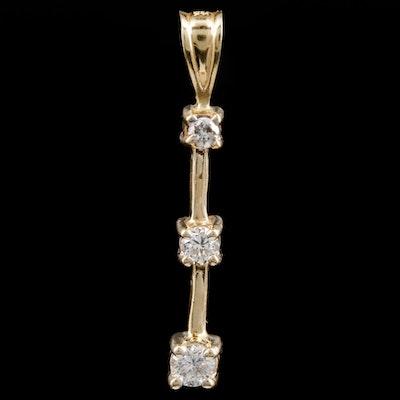 14K Yellow Gold Diamond Drop Pendant