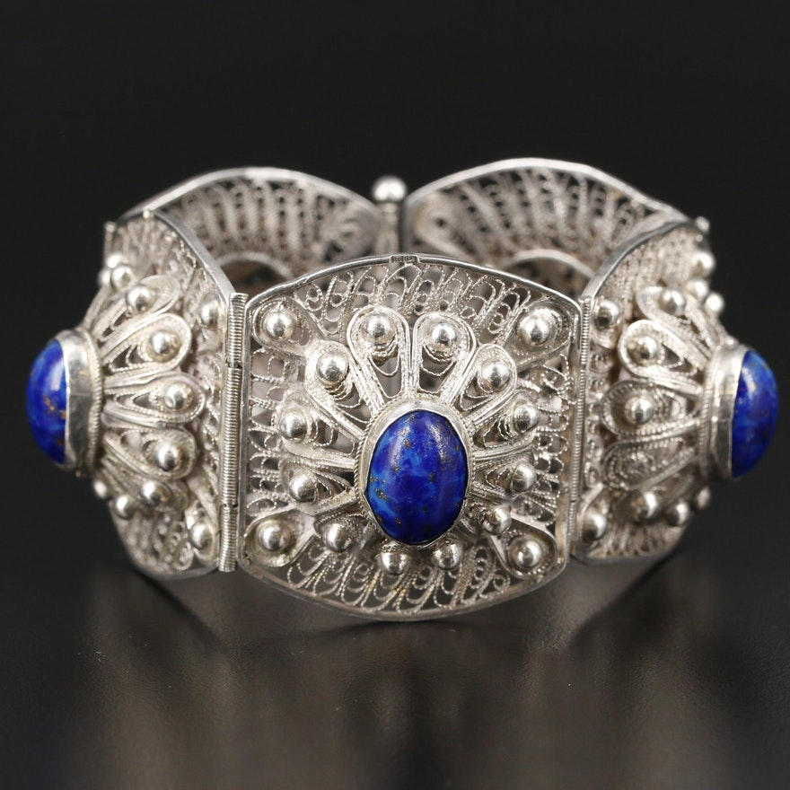 Sterling Silver Filigree Glass Panel Bracelet