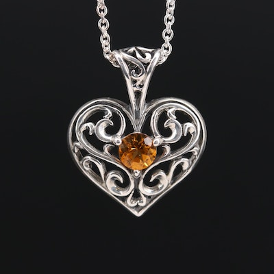 Sterling Silver Citrine Scroll Work Heart Pendant Necklace