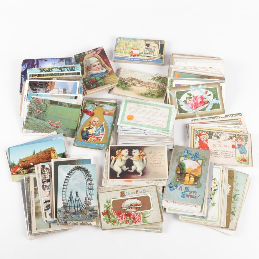 Post Card Collection Including Holidays, Places and Events, 20th Century