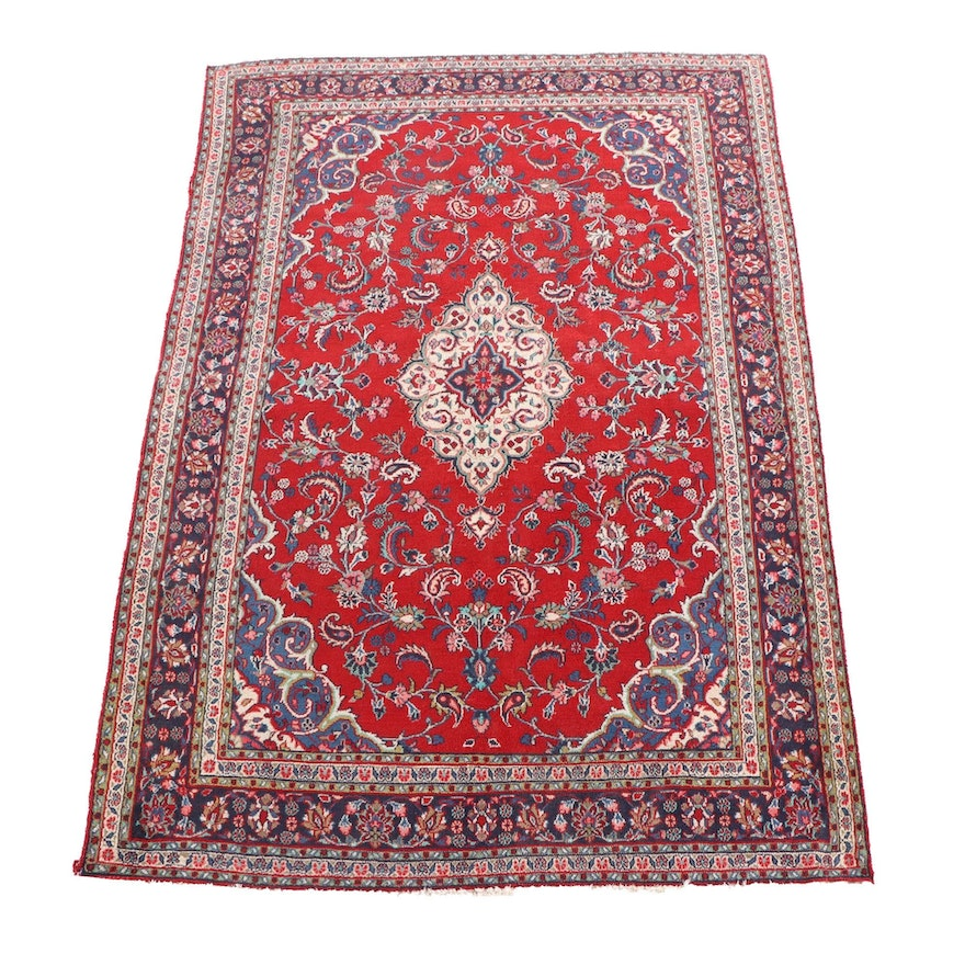 6'10 x 10'4 Hand-Knotted Persian Kashan Wool Rug