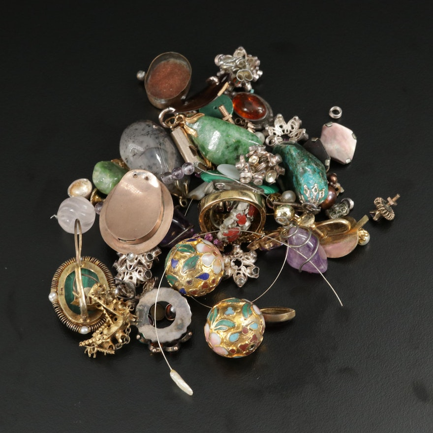 Scrap Lot with Components and Findings with Gemstones