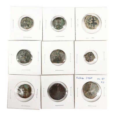 Nine Ancient Kushan Empire Bronze Coins, ca. 100 to 375 A.D.