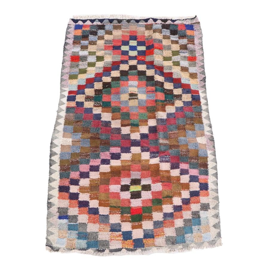 5'0 x 8'9 Handwoven Persian Kilim Geometric Wool Rug